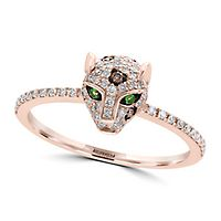 EFFY® 1/3 ct. tw. Diamond & Tsavorite Garnet Panther Ring in 14K Rose Gold