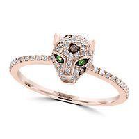 EFFY® 1/3 ct. tw. Diamond & Tsavorite Garnet Panther Ring in 14K Rose Gold