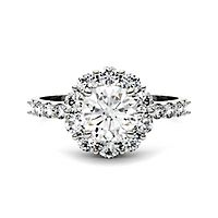 Forever One™ 1 4/5 ct. tw. Moissanite Halo Ring in 14K White Gold