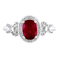 Helzberg Limited Edition® Ruby & 3/8 ct. tw. Diamond Ring in 14K White Gold
