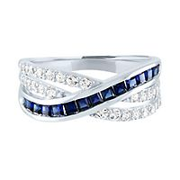 Lab-Created Blue & White Sapphire Crossover Band in Sterling Silver