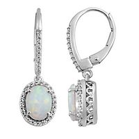 Lab-Created Opal & White Sapphire Drop Earrings in Sterling Silver