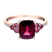 Rhodolite Garnet, Pink Tourmaline & Diamond Ring in 10K Rose Gold