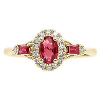 Ruby & 1/7 ct. tw. Diamond Ring in 10K Yellow Gold