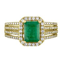 Emerald & 1/2 ct. tw. Diamond Ring in 14K Yellow Gold