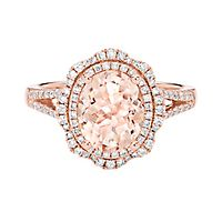 Morganite & 1/2 ct. tw. Diamond Ring in 14K Rose Gold