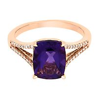 Amethyst & 1/8 ct. tw. Diamond Ring in 10K Rose Gold
