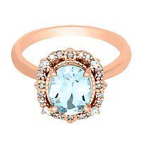 Aquamarine & 1/7 ct. tw. Diamond Ring in 10K Rose Gold
