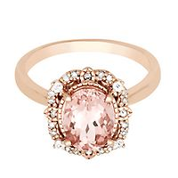 Morganite & 1/7 ct. tw. Diamond Ring in 10K Rose Gold