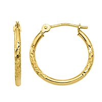Diamond Cut Hoop Earrings in 10K Yellow Gold
