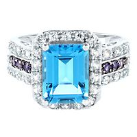Blue Topaz, Iolite, Lab-Created White Sapphire & Diamond Ring in 14K White Gold