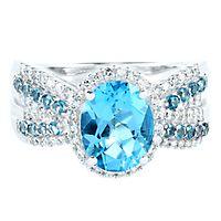Blue Topaz & 1/4 ct. tw. Diamond Ring in 14K White Gold