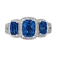 Tanzanite & 1/3 ct. tw. Diamond Three-Stone Ring in 14K White Gold