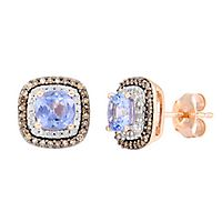 Tanzanite & 1/3 ct. tw. Champagne & White Diamond Earrings in 14K Rose Gold