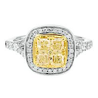 1 5/8 ct. tw. White & Yellow Multi-Diamond Engagement Ring in 14K White & Yellow Gold