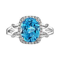 Blue Topaz & Lab-Created White Sapphire Ring in Sterling Silver