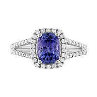 Tanzanite & 1/2 ct. tw. Diamond Ring in 14K White Gold
