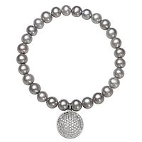 Gray Freshwater Cultured Pearl & Simulated Diamond Charm Bracelet in Sterling Silver