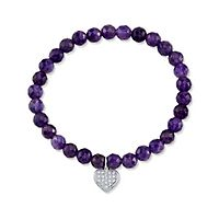 Amethyst Heart Bracelet in Sterling Silver