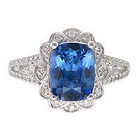 Tanzanite & 1/4 ct. tw. Diamond Ring in 14K White Gold