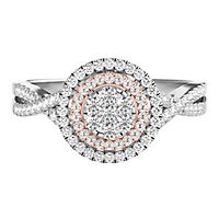 Mirabela® 1/3 ct. tw. Diamond Cluster Double Halo Ring in Sterling Silver & 10K Rose Gold