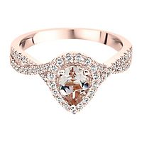 Morganite & 1/3 ct. tw. Diamond Ring in 10K Rose Gold