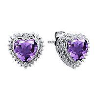 Amethyst & Diamond Heart Earrings in Sterling Silver