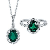 Lab-Created Emerald & White Sapphire Pendant & Ring Boxed Set in Sterling Silver