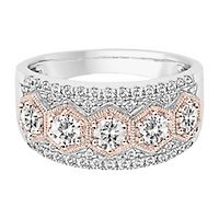 Helzberg Limited Edition® 1 ct. tw. Diamond Anniversary Band in 14K White & Rose Gold
