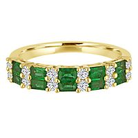 Emerald & 1/4 ct. tw. Diamond Band in 14K Yellow Gold