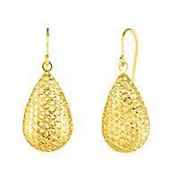 Diamond Cut Teardrop Earrings in 14K Yellow Gold