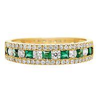 Emerald & 1/3 ct. tw. Diamond Ring in 10K Yellow Gold