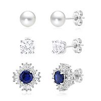 Sapphire & Freshwater Cultured Pearl Earring & Jacket Set in Sterling Silver
