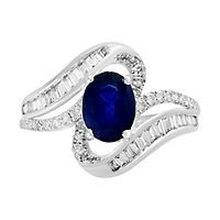 EFFY® Sapphire & 1/2 ct. tw. Diamond Ring in 14K White Gold