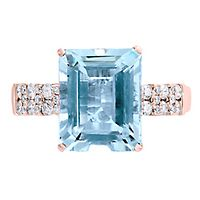 EFFY® Aquamarine & 1/3 ct. tw. Diamond Ring in 14K Rose Gold
