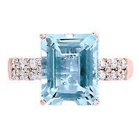 EFFY® Aquamarine & 1/3 ct. tw. Diamond Ring in 14K Rose Gold