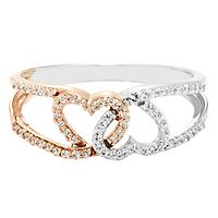 1/4 ct. tw. Diamond Heart Ring in 10K White & Rose Gold