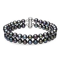 Black Freshwater Cultured Pearl Bracelet in Sterling Silver