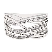 1/3 ct. tw. Diamond Crossover Ring in Sterling Silver