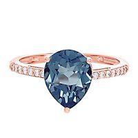Blue Topaz & 1/10 ct. tw. Diamond Ring in 10K Rose Gold