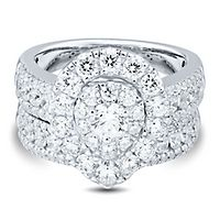 3 ct. tw. Multi-Diamond Engagement Ring Set in 14K White Gold