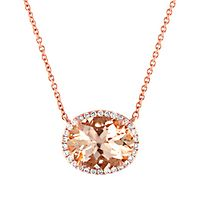 Morganite & 1/10 ct. tw. Diamond Necklace in 14K Rose Gold