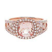 Morganite & 1/2 ct. tw. Diamond Ring in 14K Rose Gold