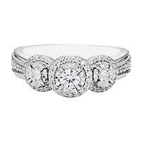 1/2 ct. tw. Diamond Three-Stone Ring in 10K White Gold