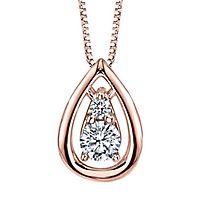 Sirena® 1/4 ct. tw. Diamond Teardrop Pendant in 14K Rose Gold