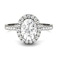 Forever One® 1 7/8 ct. tw. Moissanite Oval Ring in 14K White Gold