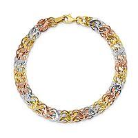 Tricolor Bracelet in 10K Gold