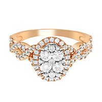 1 ct. tw. Multi-Diamond Oval Engagement Ring in 10K Rose Gold