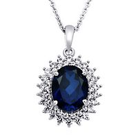 Blue Sapphire & Lab-Created White Sapphire Pendant in Sterling Silver