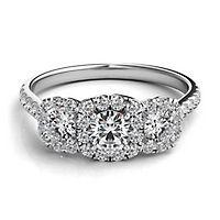 Helzberg Diamond Masterpiece® 1 3/8 ct. tw. Diamond Three-Stone Engagement Ring in 18K White Gold